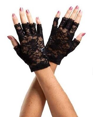 Black and White Fingerless Lace Gloves Wrist Length Retro Wedding Prom 80s