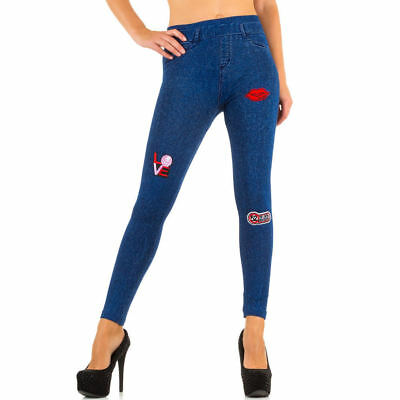 Thermo Leggings destroyed Jeanslook Jeggings mit Patches blau grau (1385)