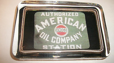 AMERICAN OIL Gas Station  Advertising Sign Amoco Logo Glass Paperweight