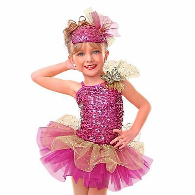 Dance Costume Small Child Pink Gold Ballet Tap Solo Competition Pageant Glitz