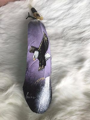 Hand painted feather , FLYING EAGLE , ARTS & CRAFTS ,  SOUTHWEST ART , PURPLE