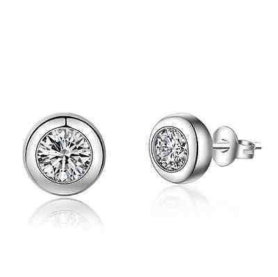 wholesale 925 Sterling Silver Earrings Round AAA Zircon Ear Stud Jewelry Gift