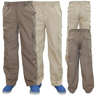 New Mens Mian Elasticated 7 Pockets Cotton Combat Cargo Work Loose Fit Trousers