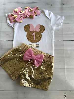 Minnie Mouse Glitter Birthday Gerber Onesie ONLY Headband & Shorts NOT Included