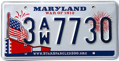 Maryland WAR OF 1812 License Plate