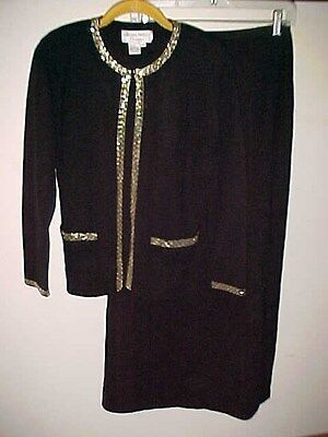 ADRIANNA PAPELL Occasions Petite PS S  Black Beaded Jacket Skirt Stretch