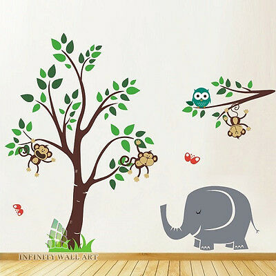 Wall Stickers Nursery Kids Tree Family Animal Flower Birds Wall Art Decals-P406