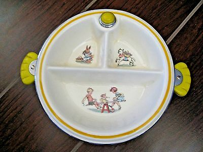 BARTSEH BABY DISH WARMER 1940's CHILDRENS NURSERY RHYME CHROME  VINTAGE