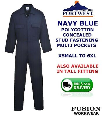 Portwest Quality Coverall,Navy Blue,Overall,Boiler Suit, X Small To 6Xl,Stud