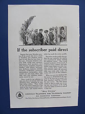 1923  American Telephone & Telegraph Co. If Subscriber Paid Direct Ad  Bell