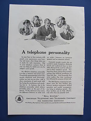 1923  American Telephone & Telegraph Co. Telephone Personality Ad  Bell System