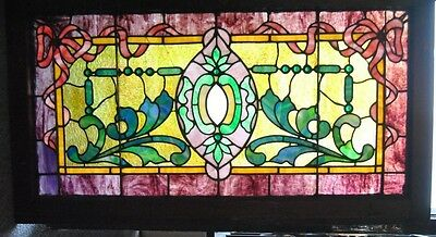 Antique Stained Jeweled And Beveled Glass Transom Window