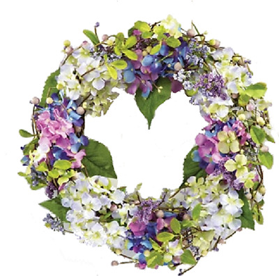 Spring Hydrangea & Twig Door Wreath with Greenery, Floral and Mixed Berries.