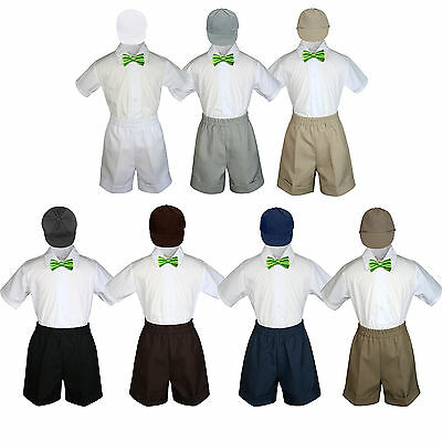 4pc Boy Toddler Formal Lime Bow tie Khaki White Black Shorts with Hat sz S-4T