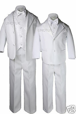 Boy White Wedding Baptism Communion Formal Tuxedo Suit size S M L XL 2T-7,16-20