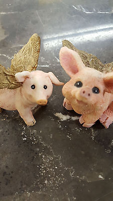 Flying Pigs Figurines Two Heavenly Winged Pig Sculptures Free Shipping
