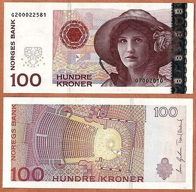 NORWAY 2010 UNC 100 Kroner Banknote Paper Money Bill P- 49