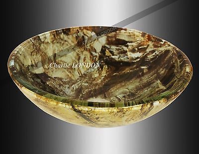 Bathroom Cloakroom Countertop Marble Effect Glass Basin Sink--Fast&Free delivery