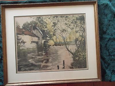 Paul Emile LeCompte signed number1 etching Paris Etching Society  gilt frame art
