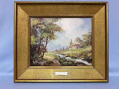 Old Signed Aliprandi Original oil on canvas Country scene Some Damage Noted