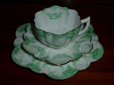Paragon Star cup saucer plate trio c1919 green