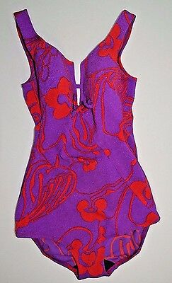 Vintage Bathing Suit Pinup Serina 1950s USA Purple Red Molded Cups