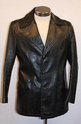 "MEDIUM, BLACK VINYL MENS JACKET. ORIGINAL VINTAGE 1970's""BY SACKSVILLE"""