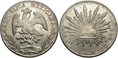 MEXICO: 1891 CN AM 8 Reales #WC69437