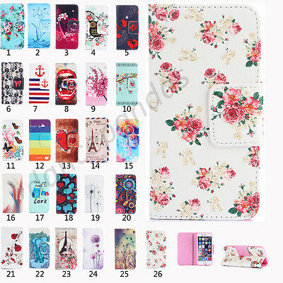 Patterned Flip Leather Wallet Card Stand Case Cover For Samsung Galaxy Phones