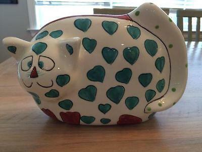 Green Heart Cat Ceramic Coin Piggy Bank Ganz Signed Pati Spotted Tail