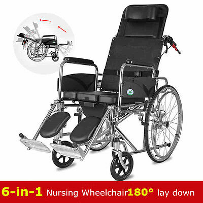 Heavy Duty multifunction folding Recliner wheelchair Removable commode stretcher