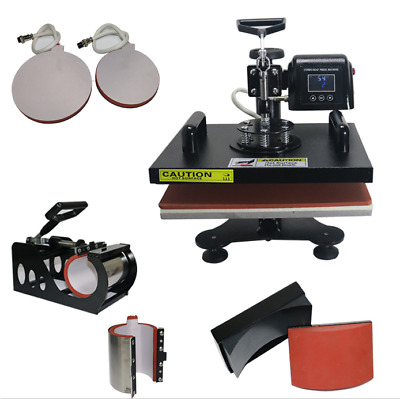 New 6in1 Combo Heat Press Machine For T-Shirt Mug Plate And Cap Transfer,CE