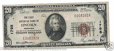 $20.00 Circulated 1929 NATIONAL BANK NOTE Lincoln, NE. Charter #1798 Type 1