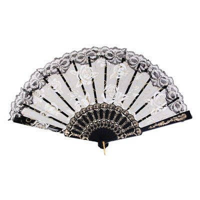 Sweet Sequined Lace Rose Flowers Hand Fan Dancing Wedding Party Favors Black