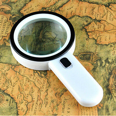10X LED Illuminated 12pcs Lamp Reading Handheld Magnifying Glass Loupe Magnifier