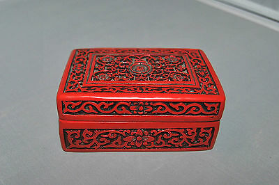 Vintage Chinese Carved Red Cinnabar  Lidded Box Rectangular Floral Relief
