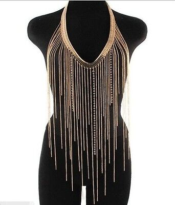 Crystal Body Chain Necklace Gold Harness
