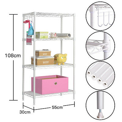 "43""x12""x22"" 4-Tier Layer Shelf Steel Wire Metal Storage Shelving Rack White"
