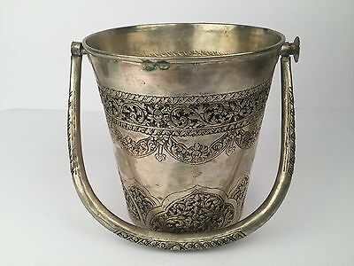 "Vintage T900 Silver Etched Ice Bucket with Handle -  5.9"" Tall Collectible"