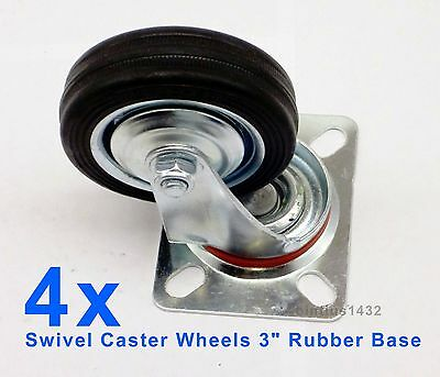 "Lot of 4 Heavy Duty Swivel Caster Wheels 3"" Rubber Base with Top Plate Bearing"