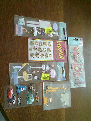 lot de divers autocollants et embellissements pour le scrap