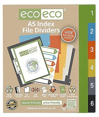 A5 File Dividers For Ring Binders 1-6 Index Extra Wide - 50% Recycled Plastic
