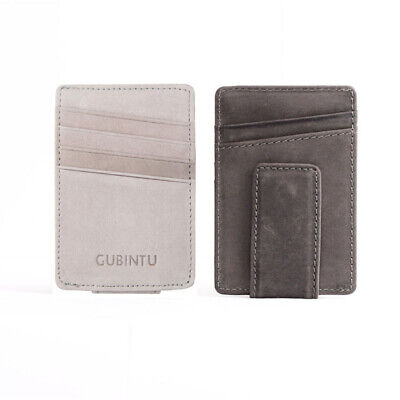 Men's Leather Slim Wallet Business Credit ID Card Holder Purse Cash Money Clip