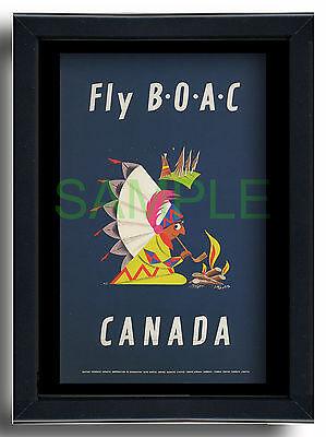 BOAC Fly to Canada Indian peace pipe framed repro poster Aldo Cosomati 1953
