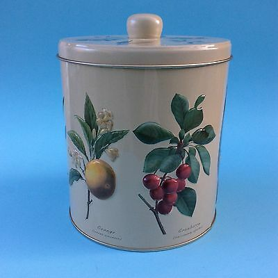 KITCHEN CANISTER TIN Repoussé Fruits Ginger Orange Cranberry Lid-Base LOVELY!