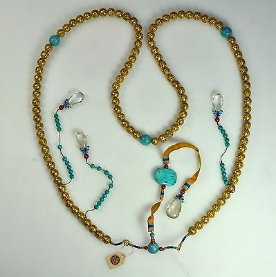 Antique Chinese China Mandarin Court Qing Necklace Gilt Silver Gemstone 1900