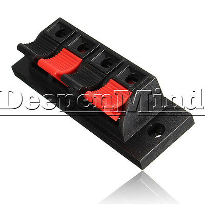 4 Way Push Speaker Terminal Release Connector Plate Amplifier Strip Block
