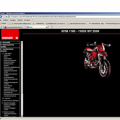 PER Ducati HyperMotard 1100 -1100S DVD ELETTRONICO DI OFFICINA - WORKSHOP MANUAL