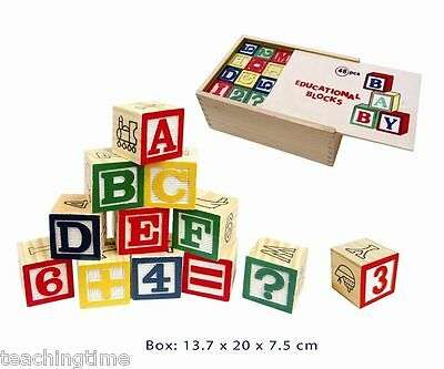 Educational ABC Wooden Blocks - Alphabet & Numbers 48pc - in Storage Box