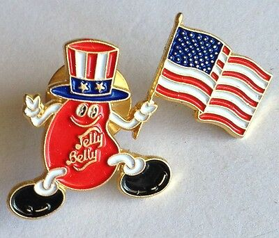 Jelly Belly Bean Uncle Sam US Flag Advertising Pin Badge Rare Vintage (F7)